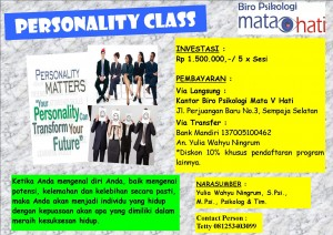 Kami membuka Kelas Kepribadian. Khusus 5 Orang/Kelas, dengan Harga Khusus. Kapanpun Anda dapat mengikuti kelas ini. Segera daftar! Dapatkan potongan khusus untuk pendaftaran kelas lainnya.